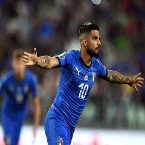 Insigne esulta dopo il gol realizzato nelle Qualificazioni all'Europeo 2020